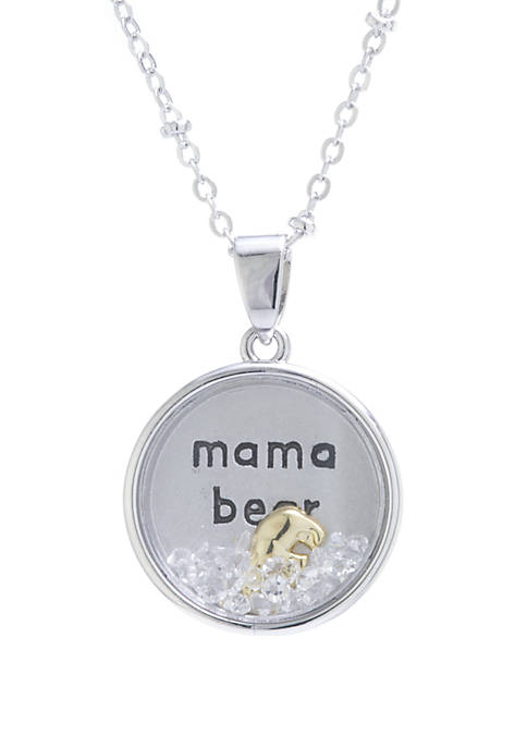 Two Tone Over Sterling Silver Crystal Mama Bear Shaker Pendant Necklace