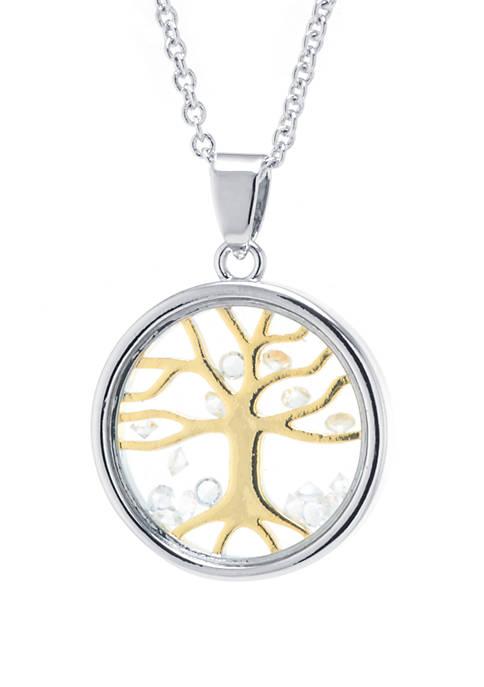 2 Tone Crystal Tree Shaker Pendant Necklace