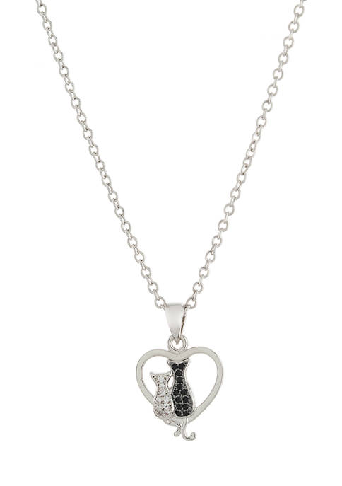 Boxed Fine Silver Plated Cubic Zirconia Heart with Cats Pendant Necklace