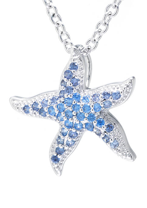 Fine Silver Plated Cubic Zirconia Starfish Pendant Necklace