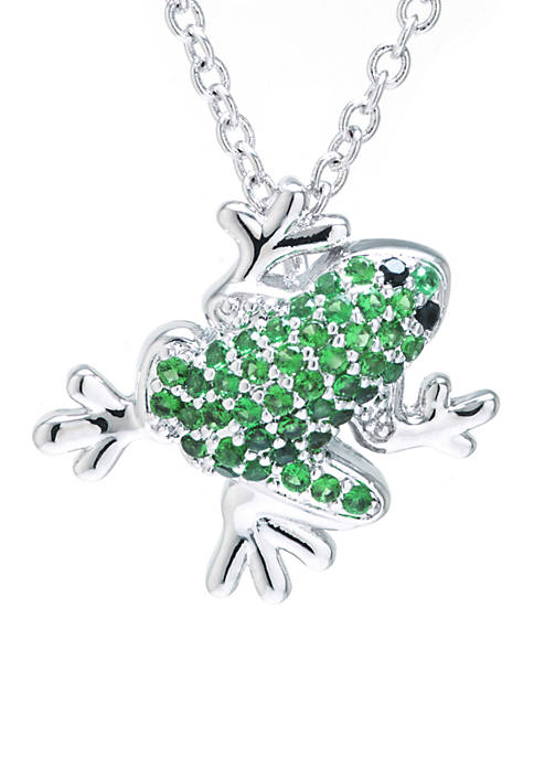 Fine Silver Plated Cubic Zirconia Frog Pendant Necklace