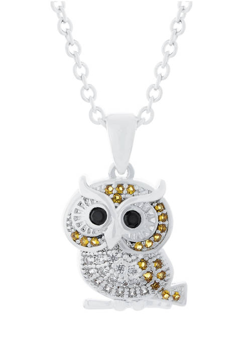 Boxed Fine Silver Plated 16 Inch + 2 Inch ExtenderCubic Zirconia Owl Pendant Necklace