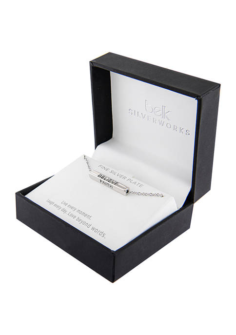 Boxed Fine Silver Plated 4 Side Bar Necklace - Faith/Hope/Believe/Blessed