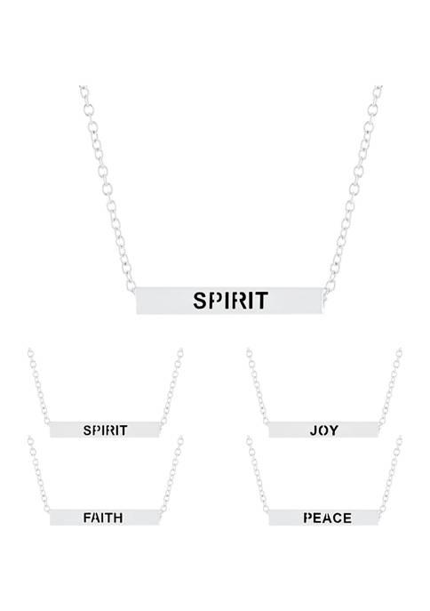 Boxed Fine Silver Plated 4 Side Bar Necklace - Spirit/Peace/Faith/Joy