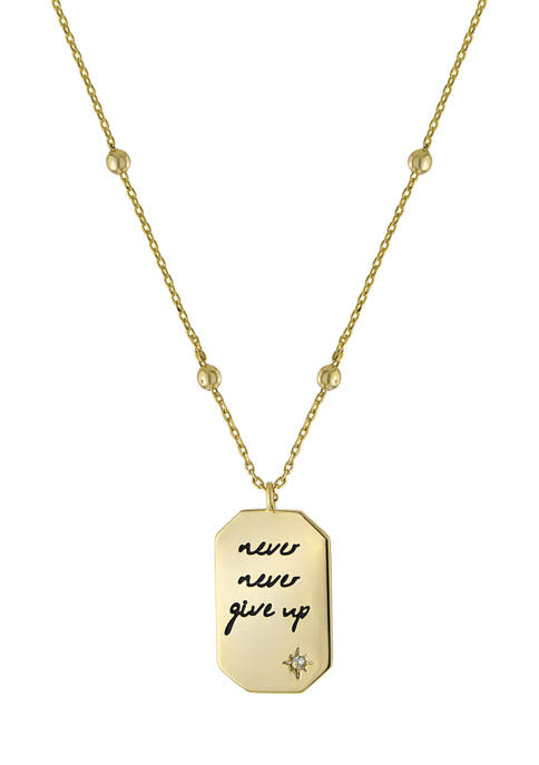 Belk Silverworks Boxed Gold Plated Never Give Up
