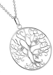 Boxed Cubic Zirconia Tree of Life Pendant
