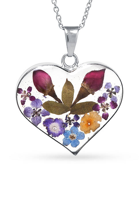 Fine Silver-Plated Dried Flowers Heart Pendant Boxed Necklace