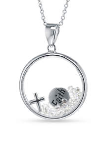 Fine Silver Plate Dancing Faith Crystal Pendant Boxed Necklace