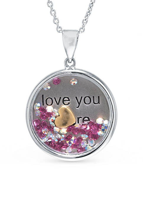Sterling Silver Dancing Crystal Love You Pendant