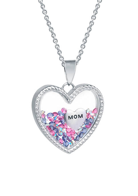 Boxed Fine Silver Plated Multi Pink Crystal and Mom Heart Shaker Pendant Necklace
