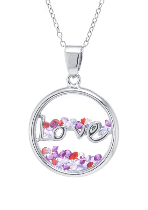 Boxed Sterling Silver Love Shaker Pendant Necklace