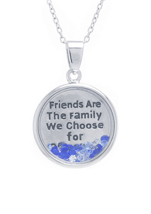 Belk Silverworks Box Shaker Pendant Friends Family Necklace