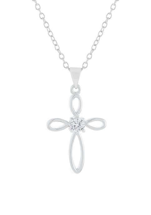 Boxed Fine Silver Plated Cross with Cubic Zirconia Center Pendant Necklace