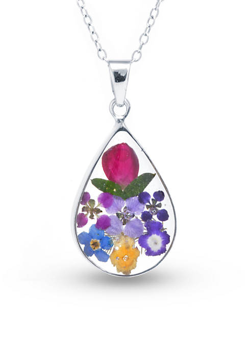 Belk Silverworks Fine Silver Plated Dried Flowers Teardrop