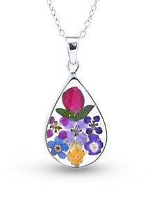 Fine Silver Plated Dried Flowers Teardrop Boxed Pendant Necklace