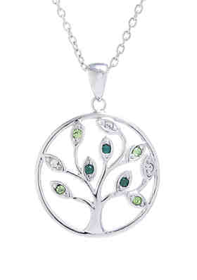 020eb4f33 Belk Silverworks Boxed Fine Silver Plated Multi Green Swarovski Crystal  Tree Necklace ...