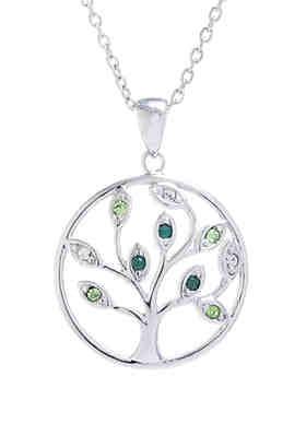 4af57d455 Belk Silverworks Boxed Fine Silver Plated Multi Green Swarovski Crystal  Tree Necklace ...