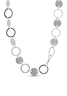 Fine Silver Plated Hammered and Open Circle Necklace
