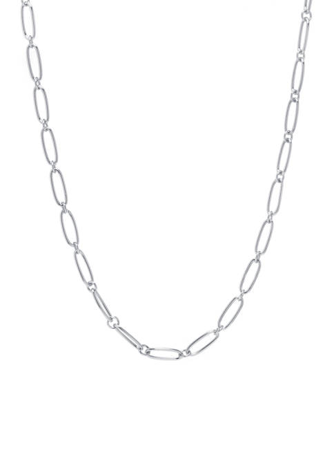 Fine Silver Plated Paperclip Linked Necklace