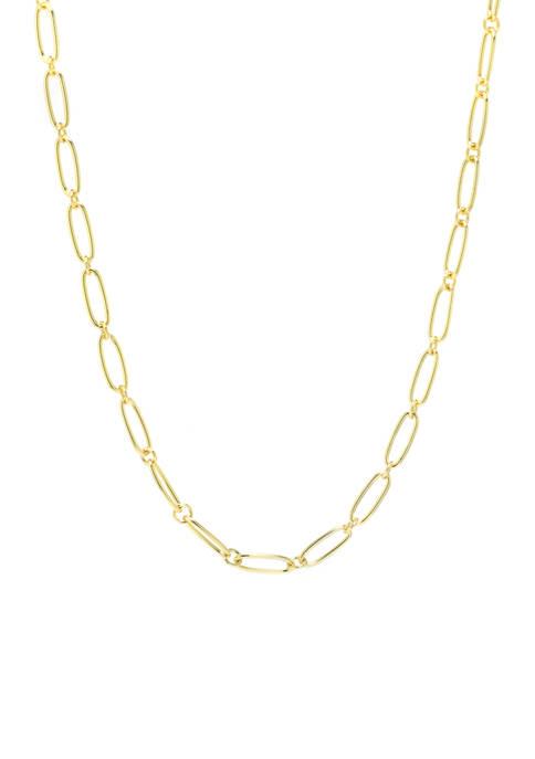 Belk Silverworks Gold over Silver Paperclip Linked Necklace
