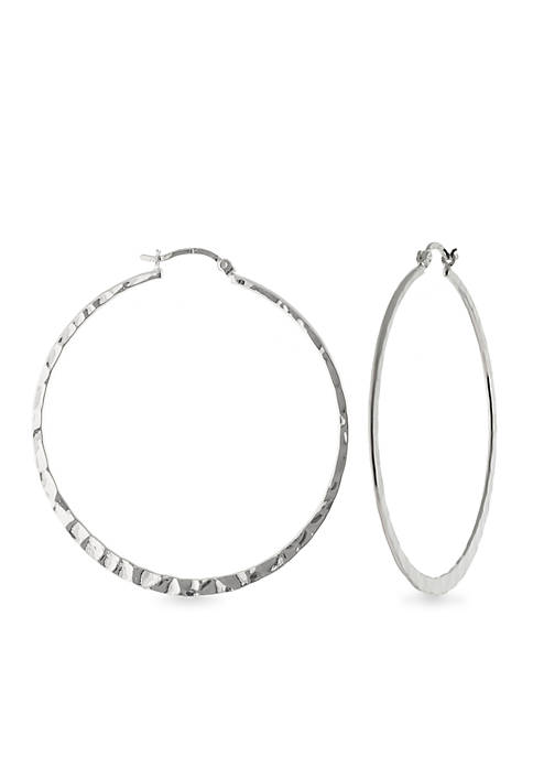 Fine Silver Plate 55-mm. Hammered Round Hoop Earring