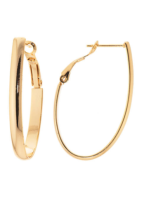 Belk Silverworks Gold-Tone Oval Omega Hoop Earrings