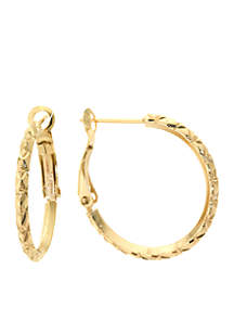 Gold Over Fine Silver Plated Diamond Cut Hoop Earrings