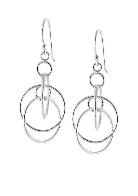 Fine Silver Plated Multi Circle Drop Earrings