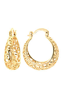 Gold Over Fine Silver Plated Filigree Hoop Earrings