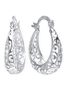 Fine Silver Plated Filigree Click Top Hoop Earrings