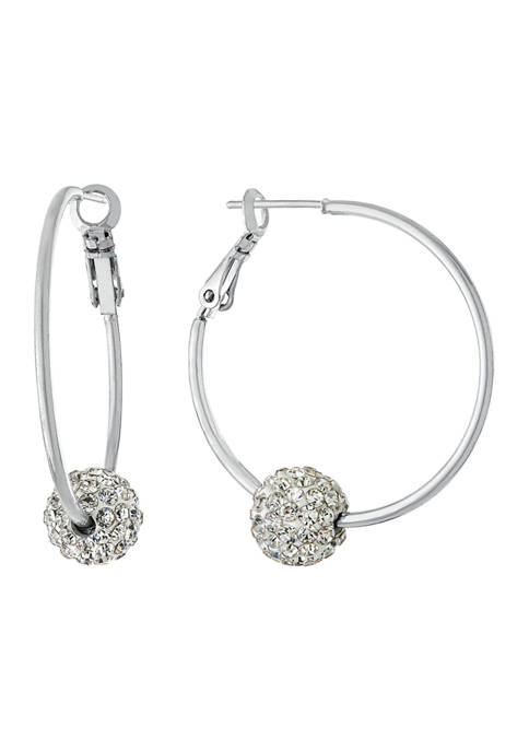 Athra NJ Fine Silver Plated Hoops with Clear