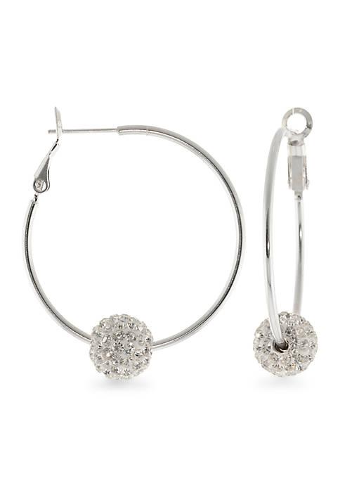 Belk Silverworks Fine Silver Plated Crystal Beaded Hoop