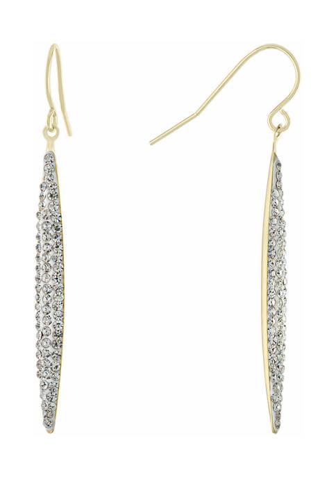 Belk Silverworks Clear Crystal Thin Marquise Drop Earrings