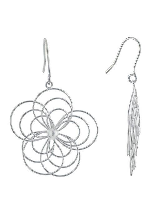 Belk Silverworks Fine Silver Plated Flower Drop Earrings