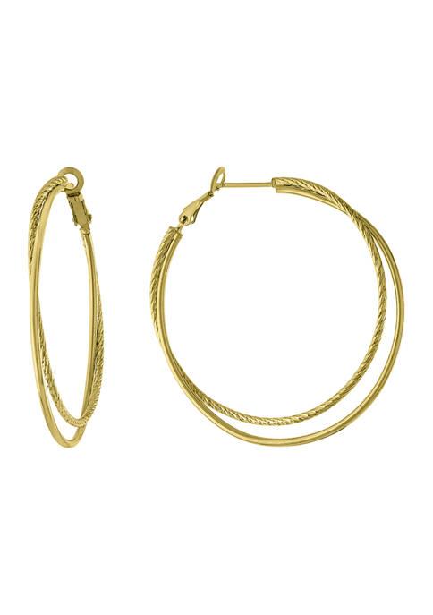 Athra NJ Double Circle Textured Hinge Hoop Earrings