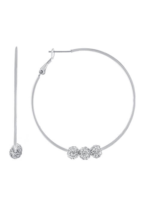 Athra NJ Fine Silver Plated Hoops with 3