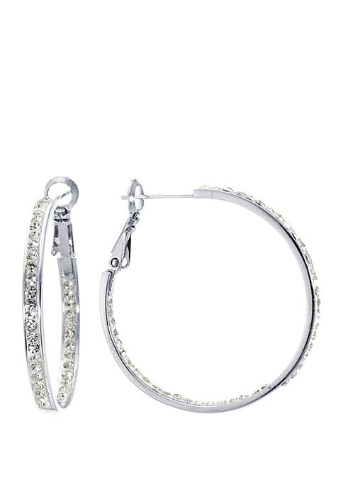 Fine Silver Plated Crystal Clutchless Hoop Earrings