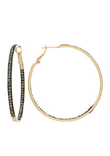 Fine Silver Plated Crystal Pave Clutchless Hoop Earrings