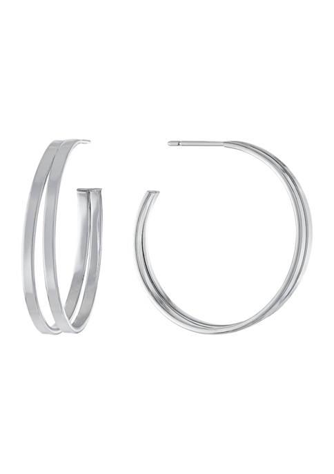 Belk Silverworks Fine Silver Plated 2 Row Hoop