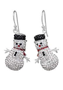 Crystal Christmas Snowman Drop Earrings