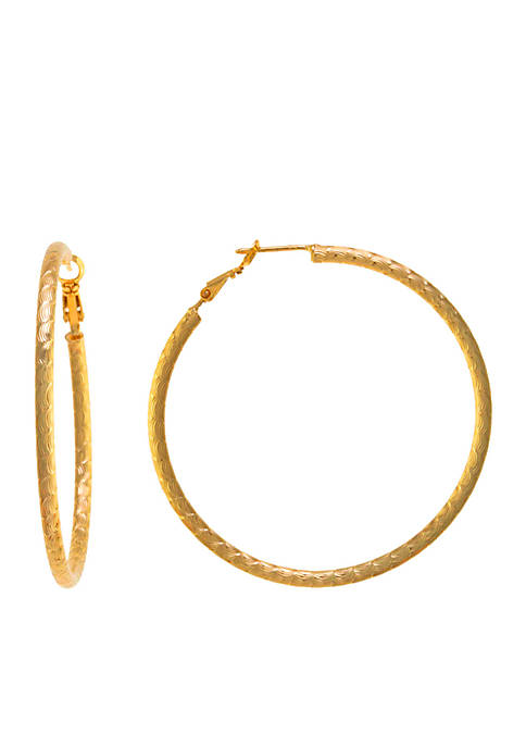 Belk Silverworks Gold-Tone Diamond Cut Clutchless Hoop Earrings