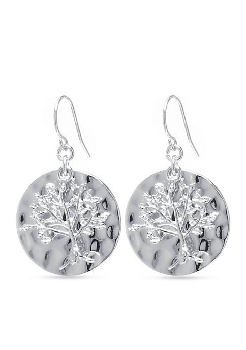 Belk Silverworks Tree of Life Disc Drop Earring