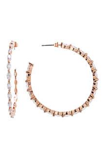 Rose Gold Plated Cubic Zirconia Hoop Earrings