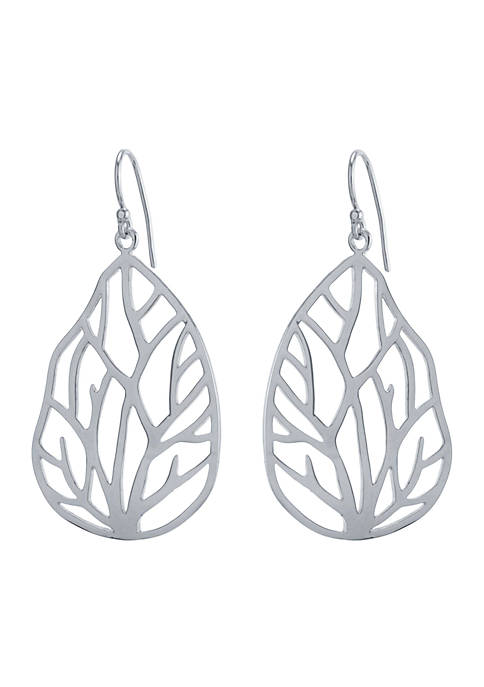 Belk Silverworks Silver-Tone Oval Branches Drop Earrings