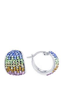 Belk Silverworks Fine Silver Plated Rainbow Crystal Pave Hoop Earrings