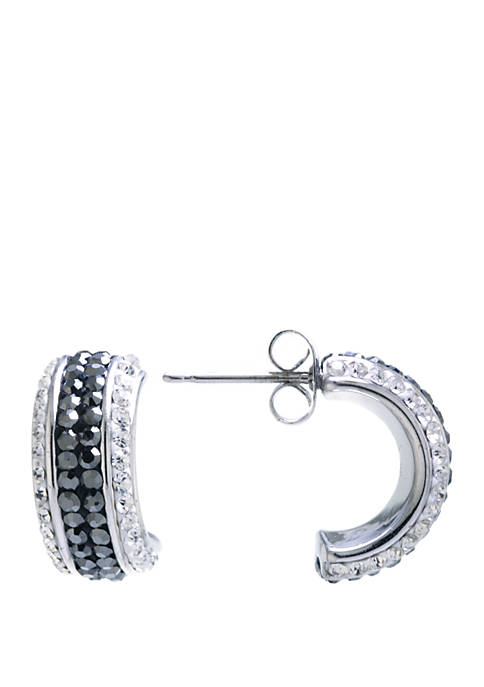 Belk Silverworks Silver Tone Pace Crystal Half Hoop