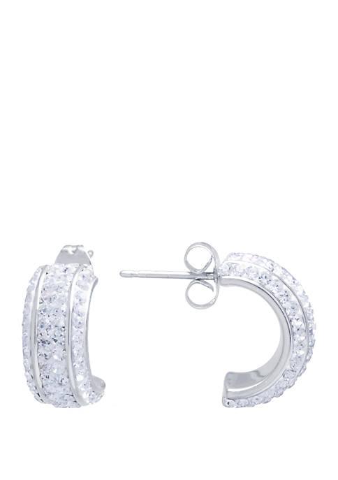 Belk Silverworks Silver Tone Clear Crystal Pave Half