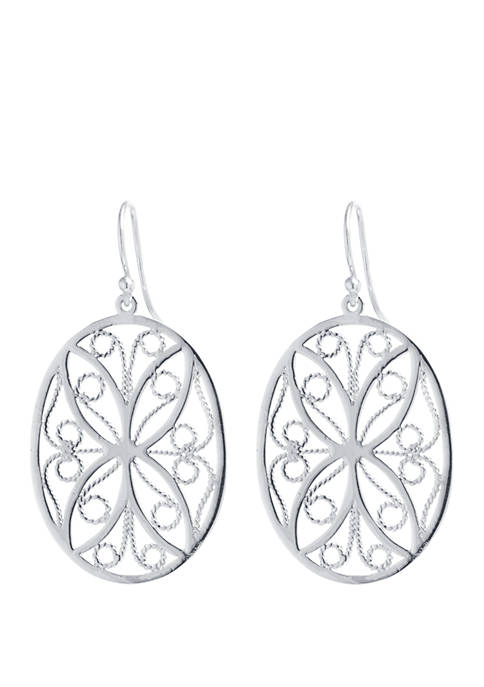 Belk Silverworks Fine Silver Plated Filigree Oval Flower