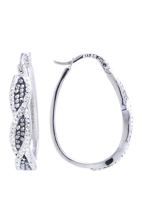 Belk Silverworks Fine Silver Plated Crystal Twist Hoop