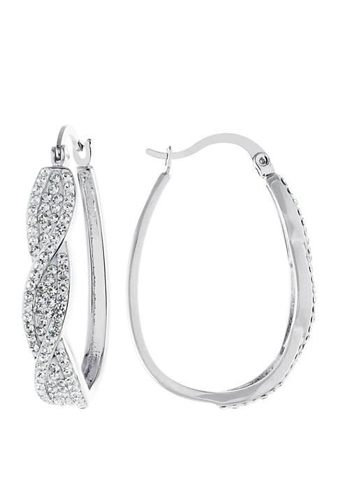 Belk Silverworks Fine Silver Plated Twist Hoop Earrings